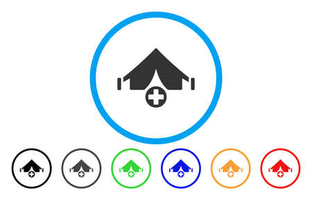 Field Hospital rounded icon. Vector illustration style is a flat iconic symbol inside a circle, with black, grey, green, blue, orange, red color versions. Designed for web and software interfaces.
