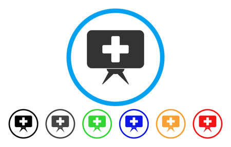 Health Care Presentation rounded icon. Vector illustration style is a flat iconic symbol inside a circle, with black, gray, green, blue, orange, red color versions. Illustration