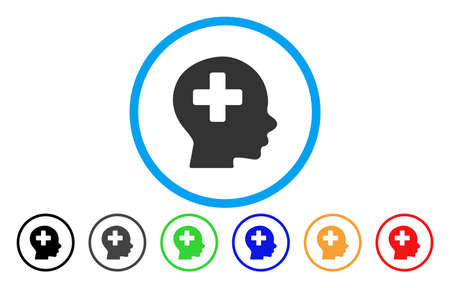 new addition: Head Medicine rounded icon. Vector illustration style is a flat iconic symbol inside a circle, with black, grey, green, blue, orange, red color versions. Designed for web and software interfaces. Illustration
