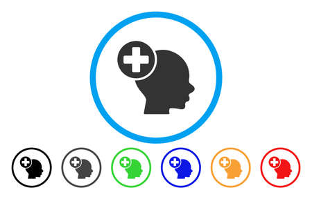 new addition: Head Treatment rounded icon. Vector illustration style is a flat iconic symbol inside a circle, with black, gray, green, blue, orange, red color versions. Designed for web and software interfaces. Illustration