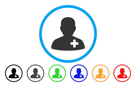 new addition: Medical Volunteer rounded icon. Vector illustration style is a flat iconic symbol inside a circle, with black, grey, green, blue, orange, red color versions. Designed for web and software interfaces.