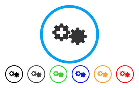 automatic transmission: Medical Process Gears rounded icon. Vector illustration style is a flat iconic symbol inside a circle, with black, grey, green, blue, orange, red color versions.