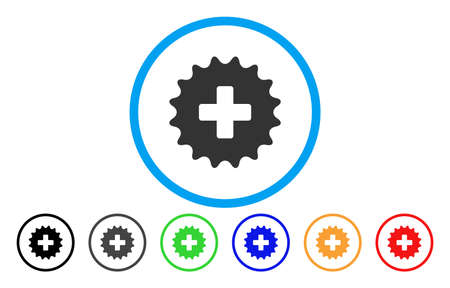 new addition: Plus Stamp rounded icon. Vector illustration style is a flat iconic symbol inside a circle, with black, grey, green, blue, orange, red color versions. Designed for web and software interfaces. Illustration