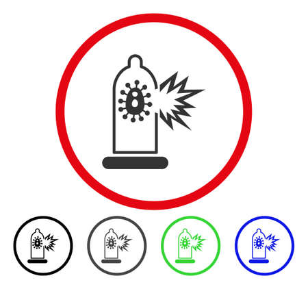 infected: Condom Infection Break rounded icon. Vector illustration style is a flat iconic symbol inside a red circle, with black, gray, blue, green versions. Designed for web and software interfaces.