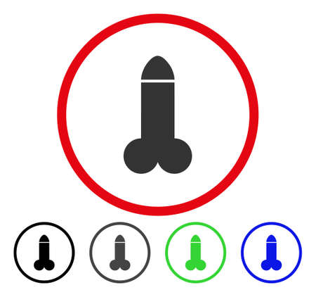 Dildo rounded icon. Vector illustration style is a flat iconic symbol inside a red circle, with black, gray, blue, green versions. Designed for web and software interfaces.
