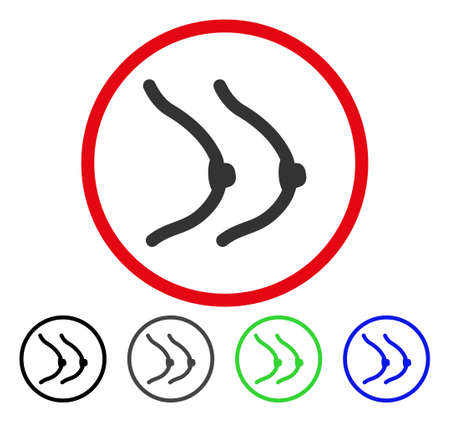 Female Boobs rounded icon. Vector illustration style is a flat iconic symbol inside a red circle, with black, gray, blue, green versions. Designed for web and software interfaces. Illustration