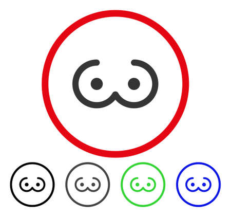 Female Breast rounded icon. Vector illustration style is a flat iconic symbol inside a red circle, with black, gray, blue, green versions. Designed for web and software interfaces.