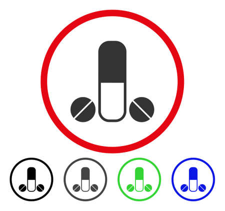 Male Medication rounded icon. Vector illustration style is a flat iconic symbol inside a red circle, with black, grey, blue, green versions. Designed for web and software interfaces.