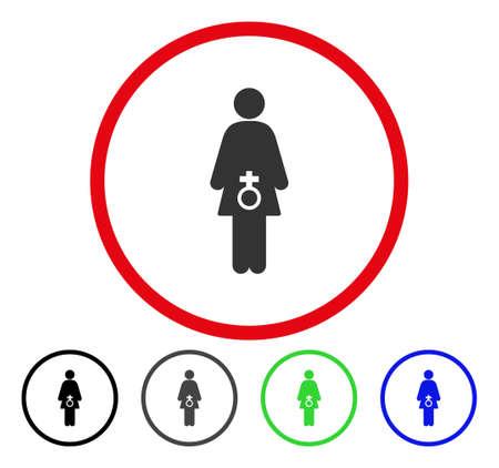 여성 성적 장애 둥근 아이콘입니다. 벡터 일러스트 레이 션 스타일은 검은 색, 회색, 파란색, 녹색 버전 빨간색 원 안에 플랫 아이코 닉 기호입니다. 웹  일러스트