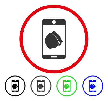 Mobile Erotic Tits rounded icon. Vector illustration style is a flat iconic symbol inside a red circle, with black, gray, blue, green versions. Designed for web and software interfaces.