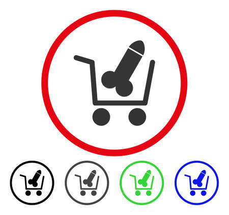 Sex Shopping Cart rounded icon. Vector illustration style is a flat iconic symbol inside a red circle, with black, grey, blue, green versions. Designed for web and software interfaces.