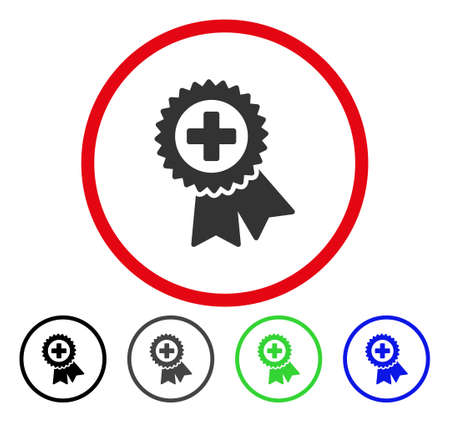addition: Medical Quality Seal rounded icon. Vector illustration style is a flat iconic symbol inside a red circle, with black, grey, blue, green versions. Designed for web and software interfaces.