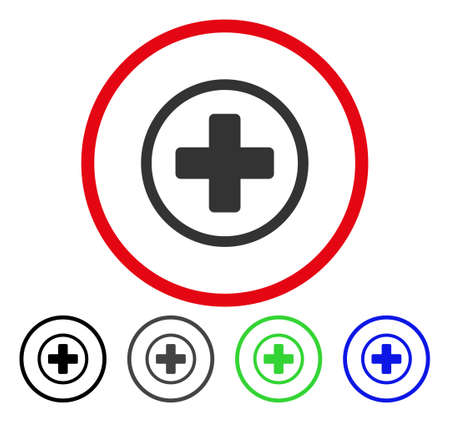 addition: Rounded Plus rounded icon. Vector illustration style is a flat iconic symbol inside a red circle, with black, gray, blue, green versions. Designed for web and software interfaces.