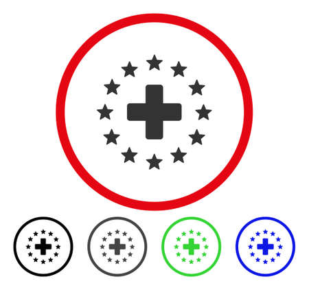 addition: Starred Medical Cross rounded icon. Vector illustration style is a flat iconic symbol inside a red circle, with black, gray, blue, green versions. Designed for web and software interfaces. Illustration