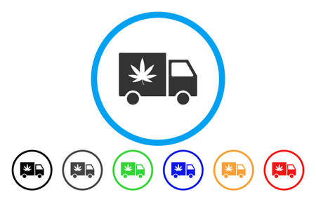 Cannabis Delivery Van rounded icon. Vector illustration style is a flat iconic symbol inside a blue circle, with black, grey, blue, green, red, orange versions.