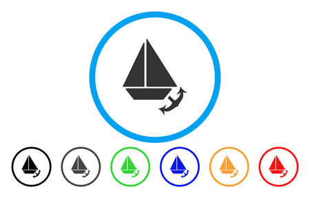 Seaport rounded icon. Vector illustration style is a flat iconic symbol inside a blue circle, with black, gray, blue, green, red, orange versions. Designed for web and software interfaces.