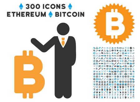 Bitcoin Banker pictograph with 300 blockchain, bitcoin, ethereum, smart contract images. Vector pictograph collection style is flat iconic symbols.