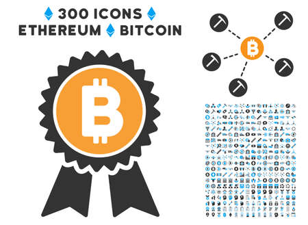 Bitcoin Award Seal icon with 300 blockchain, cryptocurrency, ethereum, smart contract pictograms. Vector pictograph collection style is flat iconic symbols.