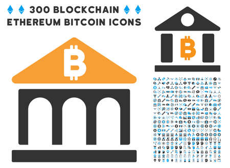 digital library: Bitcoin Bank Building icon with 300 blockchain, cryptocurrency, ethereum, smart contract pictograms. Vector clip art style is flat iconic symbols. Illustration