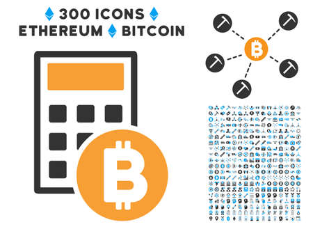 Bitcoin Calculator icon with 300 blockchain, bitcoin, ethereum, smart contract symbols. Vector icon set style is flat iconic symbols.