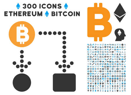 Bitcoin Cashflow icon with 300 blockchain, bitcoin, ethereum, smart contract design elements. Vector pictograph collection style is flat iconic symbols. Illustration