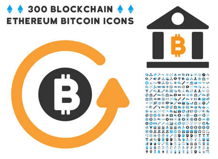 Bitcoin Chargeback pictograph with 300 blockchain, bitcoin, ethereum, smart contract design elements. Vector clip art style is flat iconic symbols.