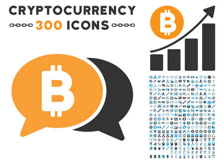 Bitcoin Chat icon with 300 blockchain, cryptocurrency, ethereum, smart contract pictures. Vector illustration style is flat iconic symbols.