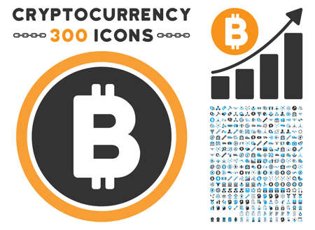 Bitcoin Coin icon with 300 blockchain, cryptocurrency, ethereum, smart contract design elements. Vector pictograph collection style is flat iconic symbols.