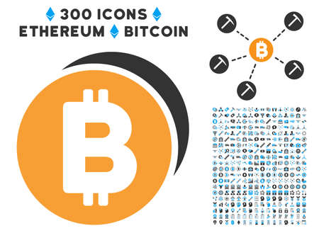 Bitcoin Coins icon with 300 blockchain, cryptocurrency, ethereum, smart contract pictures. Vector pictograph collection style is flat iconic symbols.