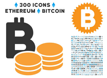 Bitcoin Coins icon with 300 blockchain, bitcoin, ethereum, smart contract pictograms. Vector icon set style is flat iconic symbols.