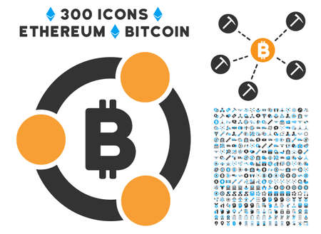 Bitcoin Collaboration icon with 300 blockchain, cryptocurrency, ethereum, smart contract images. Vector clip art style is flat iconic symbols.