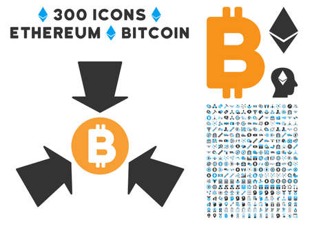 Bitcoin Collect Arrows pictograph with 300 blockchain, bitcoin, ethereum, smart contract graphic icons. Vector clip art style is flat iconic symbols.