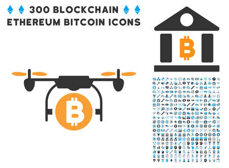 Bitcoin Copter pictograph with 300 blockchain, cryptocurrency, ethereum, smart contract symbols. Vector clip art style is flat iconic symbols.