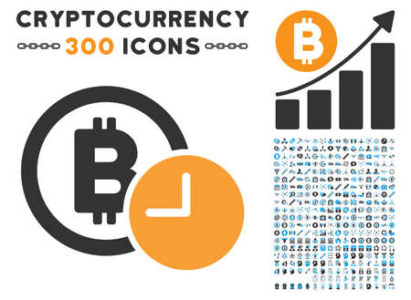 Bitcoin Credit Clock pictograph with 300 blockchain, cryptocurrency, ethereum, smart contract pictures. Vector icon set style is flat iconic symbols.