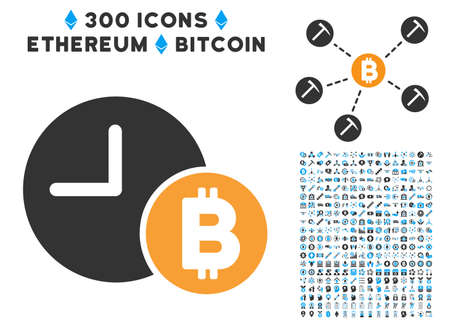 Bitcoin Credit Clock icon with 300 blockchain, cryptocurrency, ethereum, smart contract images. Vector illustration style is flat iconic symbols.