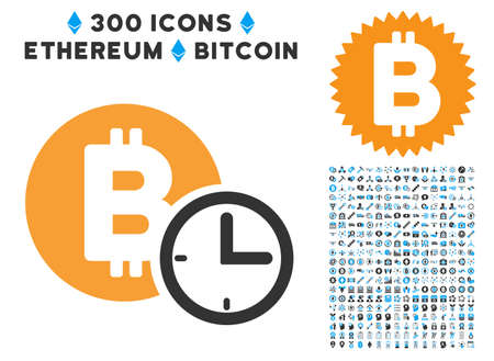 Bitcoin Credit Clock icon with 300 blockchain, cryptocurrency, ethereum, smart contract design elements. Vector pictograph collection style is flat iconic symbols. Illustration