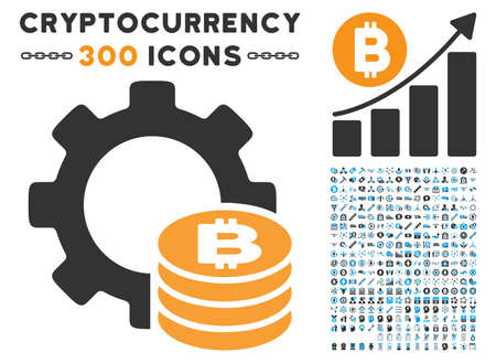 Bitcoin Industry Gear icon with 300 blockchain, cryptocurrency, ethereum, smart contract design elements. Vector clip art style is flat iconic symbols.