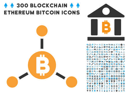 Bitcoin Links icon with 300 blockchain, bitcoin, ethereum, smart contract design elements. Vector illustration style is flat iconic symbols.