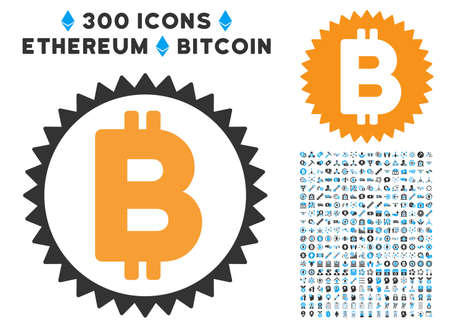 Bitcoin Medal Coin pictograph with 300 blockchain, bitcoin, ethereum, smart contract design elements. Vector illustration style is flat iconic symbols. Illustration