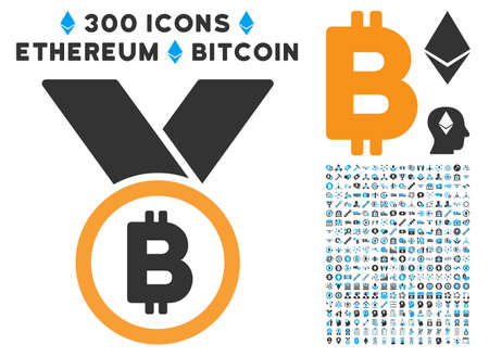 Bitcoin Medal Icon 300 Blockchain Ethereum Smart Ribbons Pictograph Contract