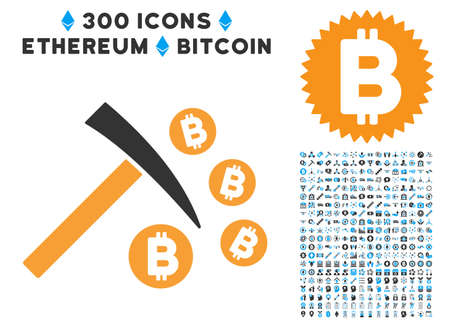 Bitcoin Mining Hammer icon with 300 blockchain, bitcoin, ethereum, smart contract symbols. Vector pictograph collection style is flat iconic symbols.