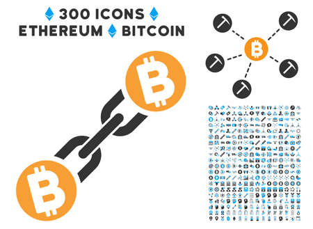 Bitcoin Blockchain pictograph with 300 blockchain, cryptocurrency, ethereum, smart contract symbols. Vector icon set style is flat iconic symbols.