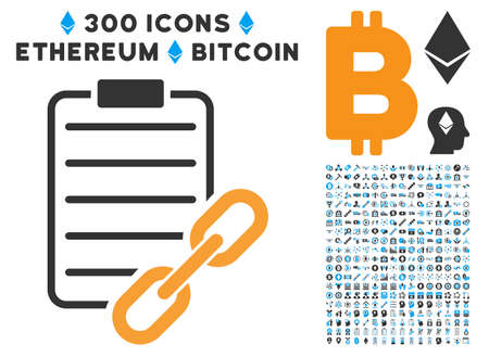 Blockchain Contract pictograph with 300 blockchain, cryptocurrency, ethereum, smart contract symbols. Vector clip art style is flat iconic symbols. Illustration