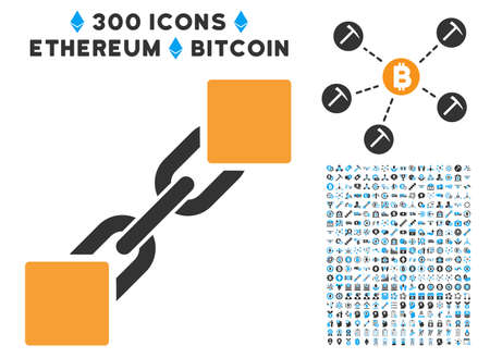 Blockchain icon with 300 blockchain, cryptocurrency, ethereum, smart contract graphic icons. Vector icon set style is flat iconic symbols. Illustration