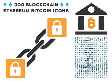 registro: Bloquear Blockchain icono con 300 blockchain, criptocurrency, etéreo, smart contrato iconos gráficos. El estilo del clip de arte vectorial es símbolos iconos planos. Vectores