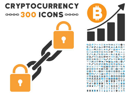 Lock Blockchain pictograph with 300 blockchain, bitcoin, ethereum, smart contract pictures. Vector icon set style is flat iconic symbols.