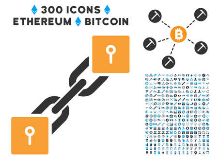 Locker Blockchain icon with 300 blockchain, cryptocurrency, ethereum, smart contract pictograms. Vector icon set style is flat iconic symbols.