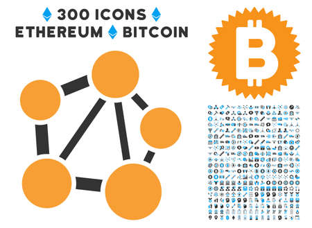 Network icon with 300 blockchain, cryptocurrency, ethereum, smart contract pictures. Vector clip art style is flat iconic symbols.