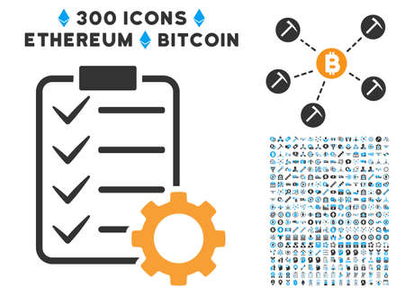 install: Smart Contract Gear pictograph with 300 blockchain, bitcoin, ethereum, smart contract images. Vector icon set style is flat iconic symbols.