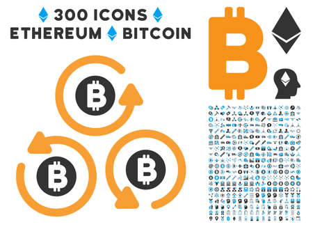 Bitcoin Mixer Rotation pictograph with 300 blockchain, cryptocurrency, ethereum, smart contract pictograms. Vector pictograph collection style is flat iconic symbols. Illustration